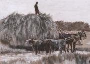 Hay Wagon Prints - Hay Wagon Historical Vignette from River Mural Print by Dawn Senior-Trask
