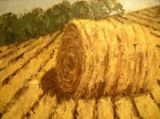 Haybales Painting Metal Prints - Haybale Hill Metal Print by Jaylynn Johnson