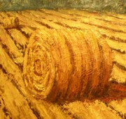 Haybale Painting Prints - Haybale II Print by Jaylynn Johnson