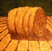 Haybales Painting Metal Prints - Haybale Metal Print by Jaylynn Johnson