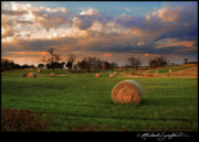 Haybale Photo Prints - Haybales at Dusk Print by Melinda Swinford