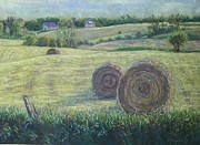 Haybales Pastels Framed Prints - Haybales Durham County Framed Print by Ruth Greenlaw