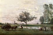 Meadow Paintings - Haycart beside a River  by Jean Baptiste Camille Corot