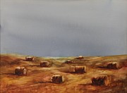 Haybales Painting Prints - Hayfield Print by Ruth Kamenev