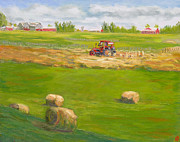 Winery Paintings - Haying at Otter Creek Winery by Robert P Hedden