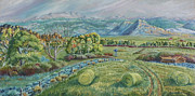 Meadow Willows Posters - Haying Time in the Valley Poster by Dawn Senior-Trask