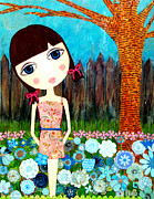 Brunette Mixed Media Prints - Hayli Print by Laura Bell