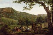Rural Landscapes Framed Prints - Haymakers Picnicking in a Field Framed Print by Jean Louis De Marne