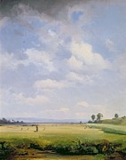 Country Life Paintings - Haymaking by August Albert Zimmermann