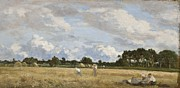 Panoramic Painting Framed Prints - Haymaking Framed Print by Eugene Louis Boudin