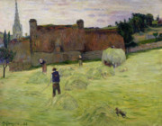 Breton Paintings - Haymaking in Brittany by Paul Gauguin