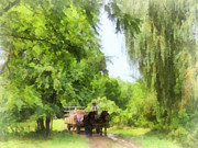 Weeping Willow Prints - Hayride Print by Susan Savad