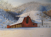 Winter Scene Pastels Metal Prints - Hays In Metal Print by James Clewell