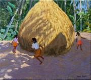 Indian Painting Prints - Haystack Print by Andrew Macara