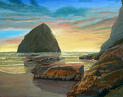 Pacific City Paintings - Haystack Kiwanda Sunset by Chriss Pagani