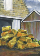 Hay Bales Paintings - Haystack by Marsha Elliott