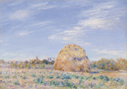 Banks Framed Prints - Haystack on the Banks of the Loing Framed Print by Alfred Sisley