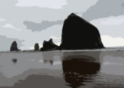 Haystack Rock Posters - Haystack Rock Poster by David Bearden