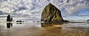 Landscape Picture Framed Prints - Haystack rock Framed Print by James Heckt