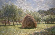 Green Field Framed Prints - Haystacks at Giverny Framed Print by Claude Monet