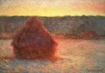 Landscape At Sunset Framed Prints - Haystacks at Sunset Framed Print by Claude Monet