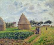 1830 Prints - Haystacks Print by Camille Pissarro
