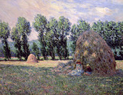 Woods; Shadows; Trees Paintings - Haystacks by Claude Monet