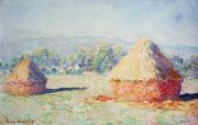 Landscapes Paintings - Haystacks in the Sun by Claude Monet