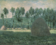 Giverny Prints - Haystacks near Giverny Print by Claude Monet