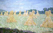 Rows Painting Posters - Haystacks The young Ladies of Giverny Sun Effect Poster by Claude Monet