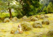 Meadows Painting Posters - Haytime Poster by Rosa Appleton