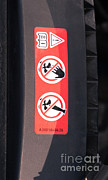 Mechanics Framed Prints - Hazard Warning Sticker Framed Print by Photo Researchers