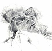 Repose Drawings Prints - Hazel of the Pillows Print by Annie Alexander