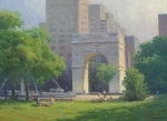 Washington Square Paintings - Hazy Hot Washington Square Park by Marianne  Kuhn