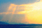 San Francisco Skyline Digital Art Prints - Hazy Light Over San Francisco Print by Wingsdomain Art and Photography