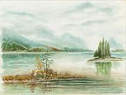 Waterscape Painting Metal Prints - Hazy On The Lake Metal Print by Samuel Showman