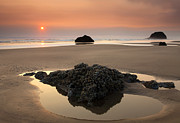 Seastacks Acrylic Prints - Hazy Oregon Sunset Acrylic Print by Mike  Dawson