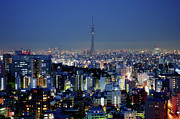 Illuminated Tapestries Textiles - Hazy Skyline With Tokyo Sky Tree by Hidehiko Sakashita