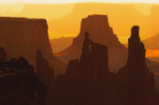 Silhouettes Posters - Hazy Sunrise over Canyonlands National Park Utah Poster by Utah Images