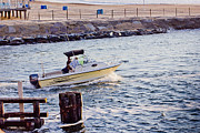 Beaches Prints - HDR Art Fishing Boat Boats Beach Beaches Ocean Sea Scenic Photos Pictures Photography Sell Pics Print by Pictures HDR