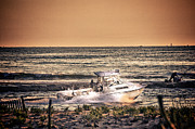 Oceanview Posters - HDR Beach Boat Boats Ocean Oceanview Seascape Sea Shore Photos Pictures Photography Pics Poster by Pictures HDR