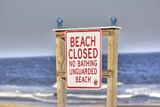 Sign Pyrography Framed Prints - HDR Beach Closed Framed Print by Pictures HDR