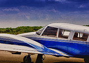 Airplane Photos Prints - HDR Blue Bright Blue Plane Airplane Cool Photo Effect Photography at Airport Pictures Photo Aircraft Print by Pictures HDR