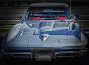 Convertible Car Posters - HDR Corvette Classic Convertible Old School Cool Photo Picture Auto Photography Pictures Car Cars  Poster by Pictures HDR