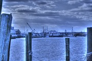 Seagull Pyrography Metal Prints - HDR Fishing Boat across the Jetty Metal Print by Pictures HDR