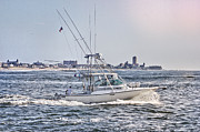 Oceanview Posters - HDR Fishing Boat Boats Sea Ocean Beach Beachtown Scenic Oceanview Photos Photography Pictures Photo  Poster by Pictures HDR