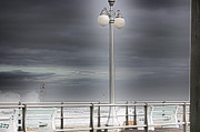 Cloudy Skies Posters - HDR Lamp Post Beach Beaches Boardwalk Ocean Sea Effect Photos Pictures Photo Picture Photography New Poster by Pictures HDR