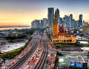 Myeress Framed Prints - HDR Miami Downtown Sunrise Framed Print by Joe Myeress