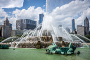 Treatment Posters - HDR Picture of Buckingham Fountain and Chicago Skyline Poster by Paul Velgos