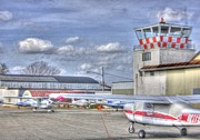 Single-engine Photo Prints - HDR Planes Together under Control Tower Print by Pictures HDR
